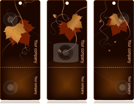 Price, sales tags on dark background stock vector clipart, 3 elegant tags with red golden autumn leaves and swirls on dark background. Use of blends, linear gradients, global colors. by Ina Wendrock