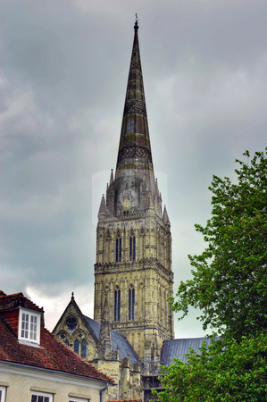 Salisbury Cathedral Spire stock photo, Spire of Salisbury Cathedral on an overcast day by Robert Ford
