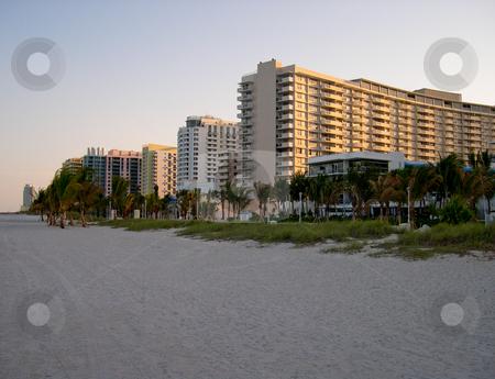 Miami Beach stock photo, Buildings and beach in Miami Florida by Jaime Pharr