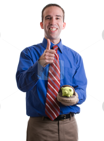 Successful Investment stock photo, Concept image of a businessman giving a thumbs up because of a successful investment, isolated against a white background by Richard Nelson