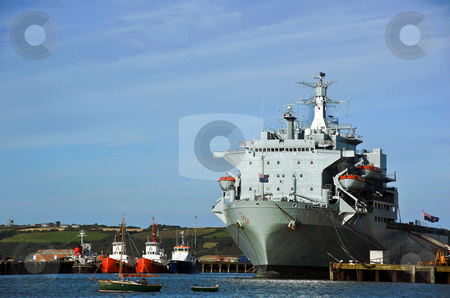 Large Ship Docked stock photo, Large Ship docked alongside fishing boats at Falmouth Harbour Cornwall UK by Robert Ford