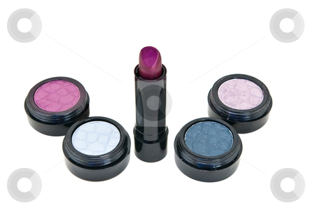 Various Cosmetics stock photo, Various cosmetics - blush, eye shadow and lipstick -- isolated against a white background by Steve Carroll