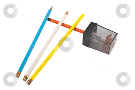 Colored Pencils w/Sharpener, isolated stock photo, Four colored pencils and pencil sharpener, isolated on white background by Steve Carroll