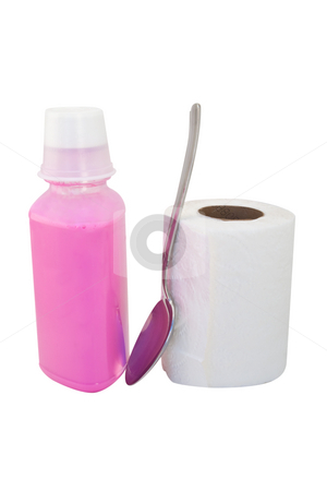 Pink Stuff, Toliet Paper and Tablespoon stock photo, Bottle of pink bismo for stomac with tablespoon and roll of toilet paper, isolated with clipping path. by Steve Carroll