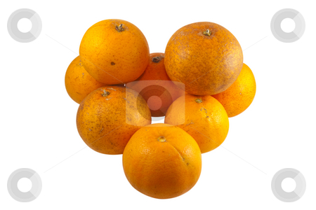 Real Oranges isolated on white stock photo, Pile of real oranges, fresh from tree with normal scares and defects.  Isolated on white background with clipping paths. by Steve Carroll
