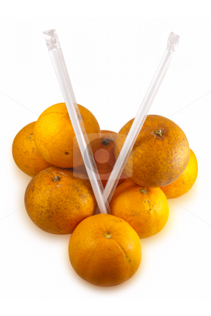 Real Oranges isolated on white stock photo, Pile of real oranges and drinking straws, fresh from tree with normal scares and defects.  Isolated on white background with clipping paths. by Steve Carroll