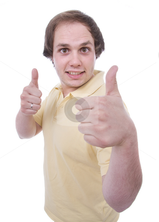 Young casual men thumbs up on white background stock photo, Young casual men tumbs up on white background by Cristovao Oliveira