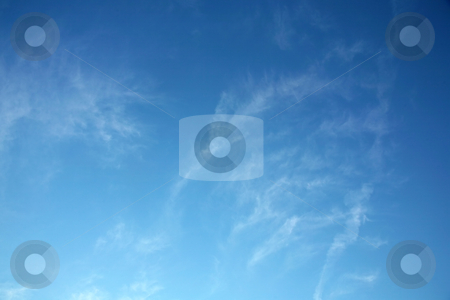 Blue sky 2 stock photo, Beautiful blue sky with light wispy clouds makes a great background by Stacy Barnett