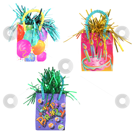 3 party or gift bags stock photo, 3 colorful party or gift bags isolated on white background by Stacy Barnett