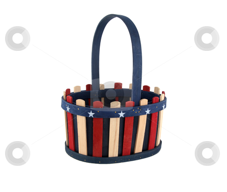 Basket with stripes stock photo, 4th of July patriotic basket by Stacy Barnett