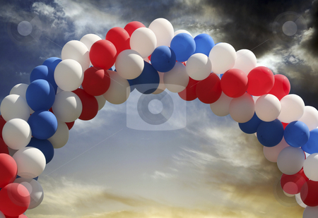 Balloon arch with evening sky background stock photo, Archway of balloons with evening sky background, digital picture that is great as a photographer's prop for isolated image insertion by Stacy Barnett