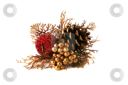 Apple decoration stock photo, Apple and berry Christmas decoration with pine cone by Stacy Barnett