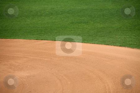 American baseball field natural background stock photo, American baseball or softball infield natural background by Stacy Barnett