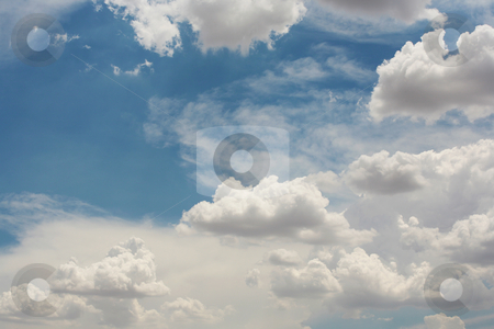 Blue sky with clouds stock photo, Beautiful blue sky with clouds by Stacy Barnett