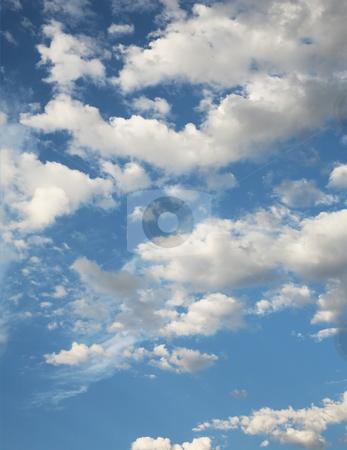 Blue cloudy sky stock photo, Cloudy blue sky background by Stacy Barnett