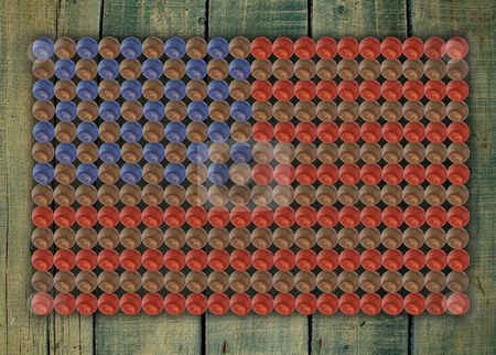 Baseball flag stock photo, American baseball flag on a country green stained wood wall by Stacy Barnett