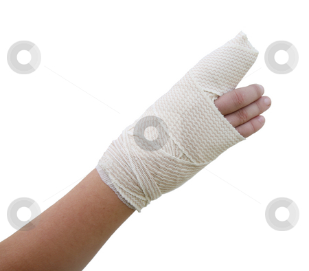 Bandaged broken finger stock photo, Broken finger of a child bandaged isolated on white background by Stacy Barnett