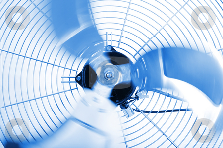 Industrial Fan stock photo, Close up shot of industrial fan while spinning by iodrakon