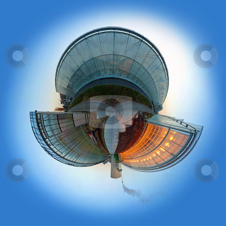 Carbon dioxide emission sphere stock photo, Spherized conceptual globe illustrating global warming and carbon dioxide emission using a glasshouse as metaphor by Corepics VOF