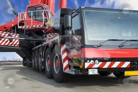 Huge Mobile crane stock photo, A close up of the world's largest mobile crane by Corepics VOF