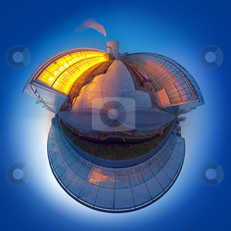 Carbon dioxide emission sphere stock photo, Spherized, conceptual globe, illustrating global warming and carbon dioxide emission using a glasshouse as metaphor by Corepics VOF