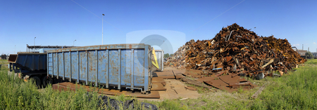 Scrap heap panorama stock photo, Panoramic image of a metal - steel scrap heap for recycling purposes by Corepics VOF