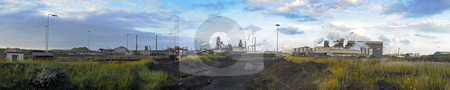 Steelworks panorama stock photo, A panorama of a steel plant, with from left to right, the process flow from iron ore and coal, via the blast furnace process to the oxygen steel plant by Corepics VOF