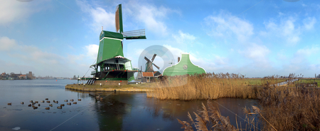 Typical Dutch Saw Mill stock photo, Panoramic image of an old, typically Dutch saw mill at the tourist attraction
