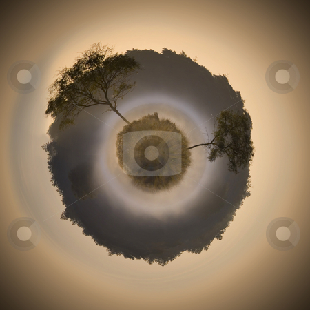 Swamp sphere stock photo, Conceptual image, illustrating a possible evolution in the worlds existence by Corepics VOF