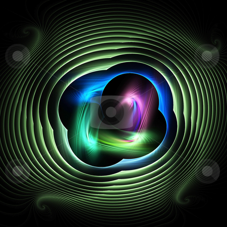 Green Eye stock photo, Colourful intricate flame based fractal for creative design or backgrounds by Helen Shorey