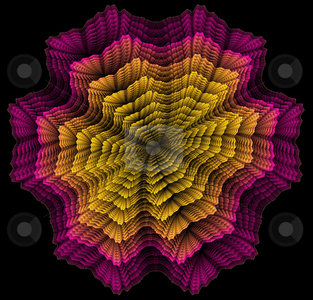 Pink and Yellow Rosette  stock photo, A rosette style fractal in tones of pink and yellow on a black background by Helen Shorey