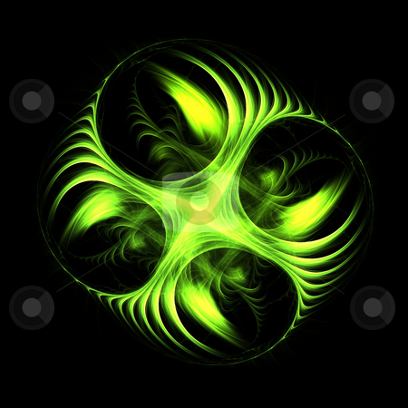 Green Spinning stock photo, Intricate green flame based fractal for creative designs or backgrounnds by Helen Shorey