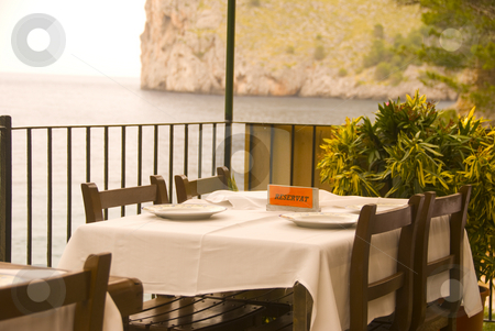 Restaurant stock photo, A table in a hotel on the island mallorca spain by Wolfgang Zintl