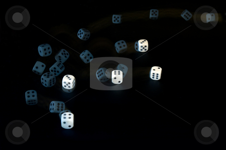 Throwing dice stock photo, Tumbling dice, captured with a stroboscopic flash by Corepics VOF