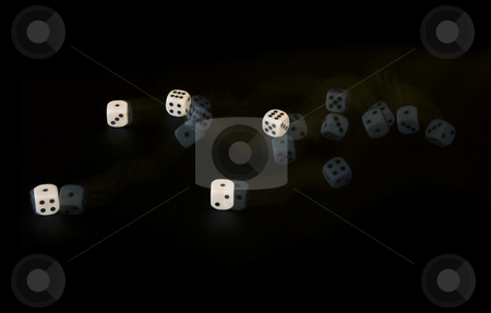 Rolling dice stock photo, Five dice rolling, captured with a stroboscopic flash by Corepics VOF