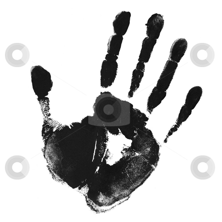Print of hand  stock photo, Monochrome hand print by Laurent Renault