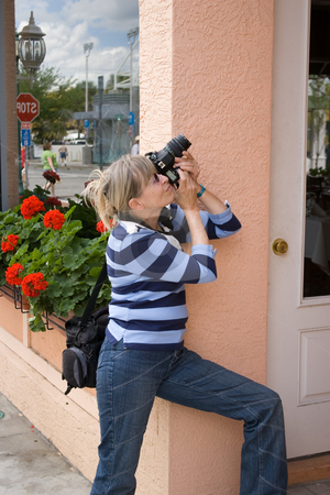 Senior Photographer stock photo, Lady taking picture by Steve Carroll