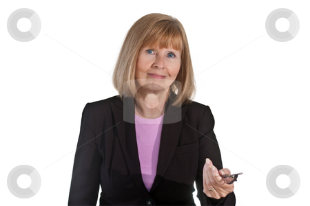 Portrait of Mature Businesswoman stock photo, Portrait of mature businesswoman, holding a pair of glasses, isolated on white background by Steve Carroll