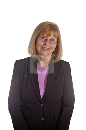 Portrait of Mature Businesswoman stock photo, Portrait of mature businesswoman wearing glasses, isolated on white background by Steve Carroll