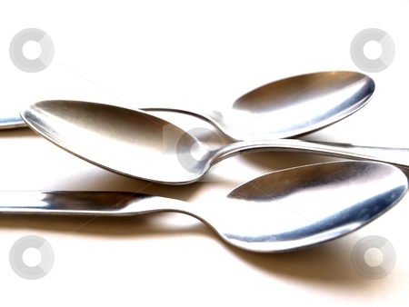 Three Spoons stock photo, Three spoons on white background by Lars Kastilan