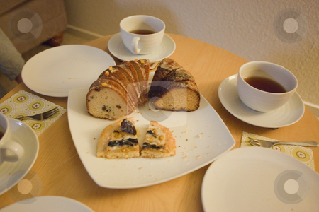 Easter table stock photo, Table with easter desserts and tea. by Mariusz Jurgielewicz
