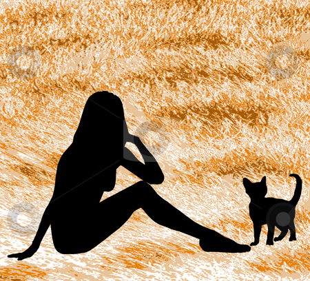 Silhouette Woman with Cat stock photo, A silhouette woman and cat against a cat fur background. by Karen Carter