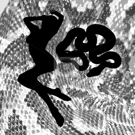 Silhouette Woman with Snake stock photo, Silhouetted woman and snake against a snake skin background. by Karen Carter