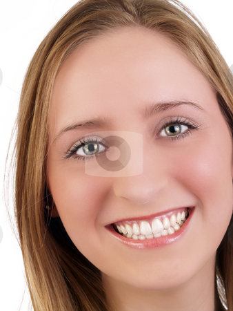 Closeup Portrait of smiling caucasian woman green eyes stock photo, Tight portrait of smiling young woman with green eyes by Jeff Cleveland