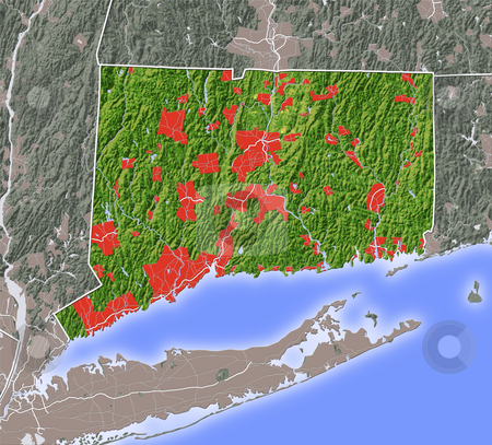 Connecticut, shaded relief map. stock photo, Connecticut, shaded relief map. Colored according to natural appearance, with major urban areas. Includes clip paths for the state boundary and land areas.  Projection: Mercator ; Geographic extents: W: -74.0; E: -71.5; S: 40.6; N: 42.3 by Michael Schmeling