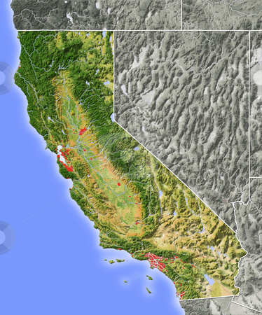 California, shaded relief map. stock photo, California, shaded relief map. Colored according to natural appearance, with major urban areas. Includes clip paths for the state boundary and land areas.  Projection: Mercator ; Geographic extents: W: -125.0; E: -113.5; S: 32.0; N: 43.0 by Michael Schmeling