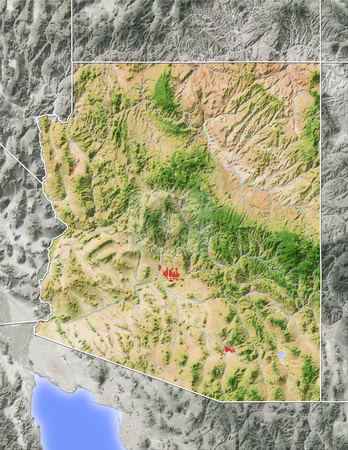 Arizona, shaded relief map. stock photo, Arizona, shaded relief map. Colored according to natural appearance, with major urban areas. Includes clip paths for the state boundary and land areas.  Projection: Mercator ; Geographic extents: W: -115.5; E: -108.5; S: 30.5; N: 38.0 by Michael Schmeling