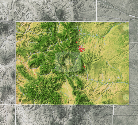 Colorado, shaded relief map. stock photo, Colorado, shaded relief map. Colored according to natural appearance, with major urban areas. Includes clip paths for the state boundary and land areas.  Projection: Mercator ; Geographic extents: W: -110.0; E: -101.5; S: 36.0; N: 42.0 by Michael Schmeling