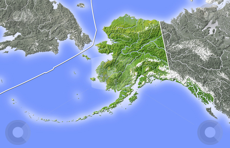 Alaska, shaded relief map. stock photo, Alaska, shaded relief map. Colored according to natural appearance, with major urban areas. Includes clip paths for the state boundary and land areas.  Projection: Lambert Azimuthal Equal-Area -154/50; Geographic extents: W: 175; E: 252; S: 45; N: 68 by Michael Schmeling