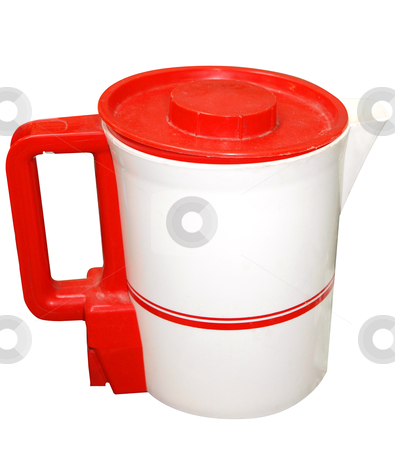 Red and White Electric Jug  stock photo, Red and White Electric Jug isolated with clipping path. by Margo Harrison